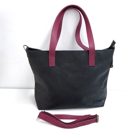 Genuine Leather Tote Bag | Black + Burgundy Straps | Handmade in Kenya