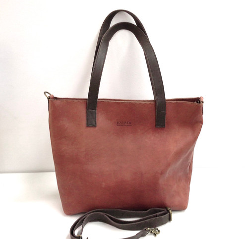 Genuine Leather Tote Bag | Tan Brown + Dark Brown Straps | Handmade in Kenya