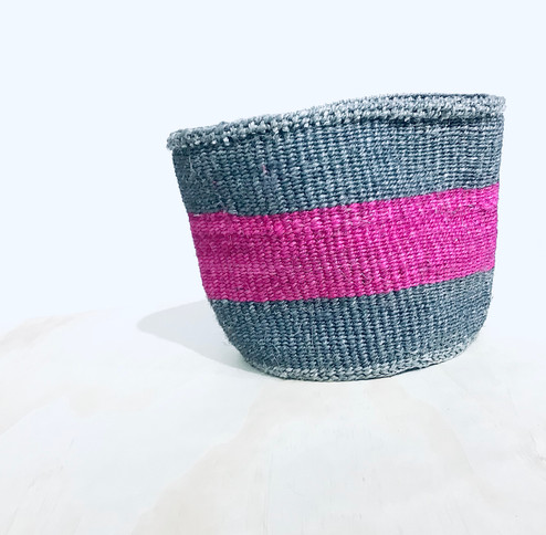 Kiondo Basket | Grey & Fuschia Stripe | 8.5"