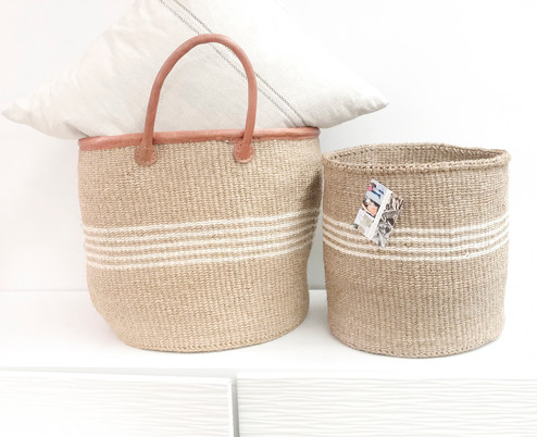 Kiondo Basket - Brown With Two Little White Stripes - 10"