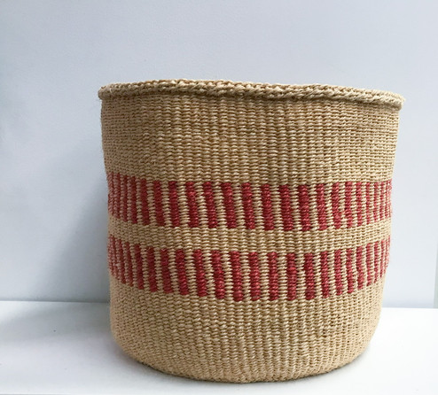 Kiondo Basket - Beige With Two Red Stripes- 14"