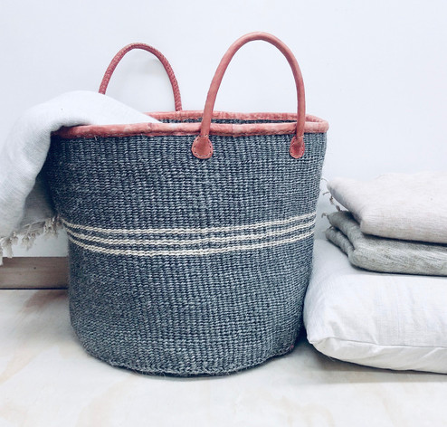 Kiondo Basket - Light Grey with Thick White Stripe | Large - Shopper, Storage, Decor