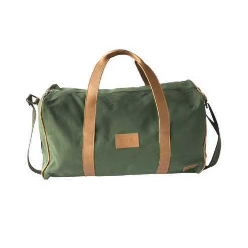Travel - Weekender Duffle Bag | Olive Green Canvas - Leather | Large