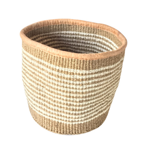 Kiondo Basket - Natural & White Stripes | Medium - 8"