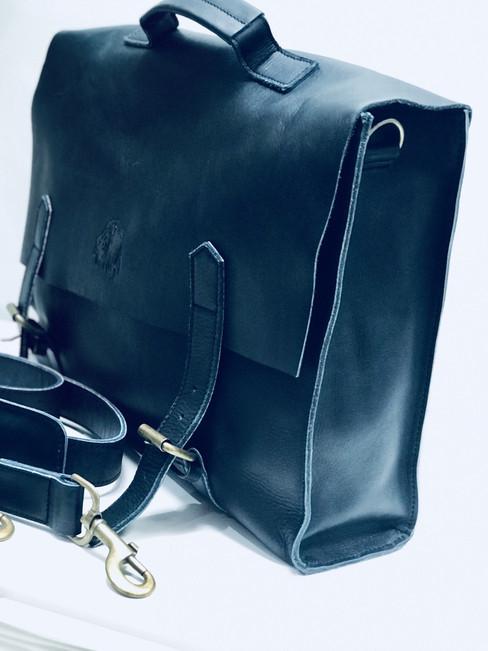 Genuine Leather Messenger Bag | Briefcase | Laptop Bag - Dark Blue | Handmade in Kenya