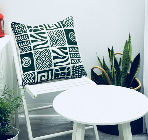 Throw/Sofa Pillows | Green | Mudcloth Design - 18 x 18 inches