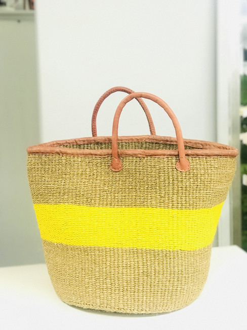 Kiondo Basket - Natural With Yellow Stripe | Large - Shopper, Storage, Decor