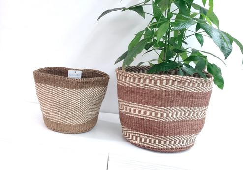 "Kiondo Basket - White & Rust Stripes | 10"" | Planter, Storage, Decor"