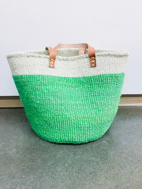 Kiondo Basket - 2 Tone Green/White + Long Leather Strap. 14"