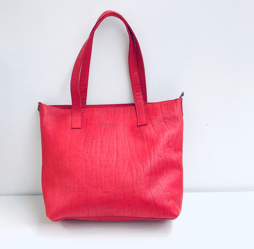 Genuine Leather Tote Bag | Red | Handmade in Kenya