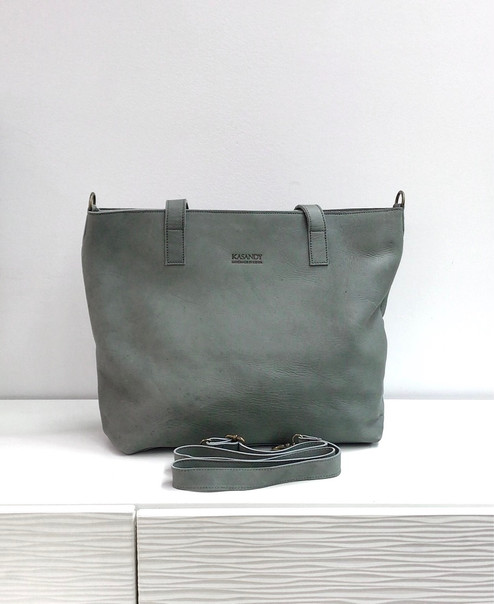 Genuine Leather Tote Bag | Grey | Handmade in Kenya