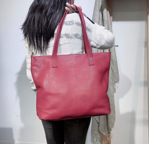 Genuine Leather Tote Bag | Plum | Handmade in Kenya