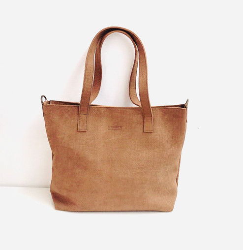 Genuine Leather Tote Bag | Light Brown | Handmade in Kenya