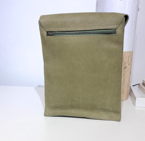 "Leather Satchel - 14"" - Olive Green 
