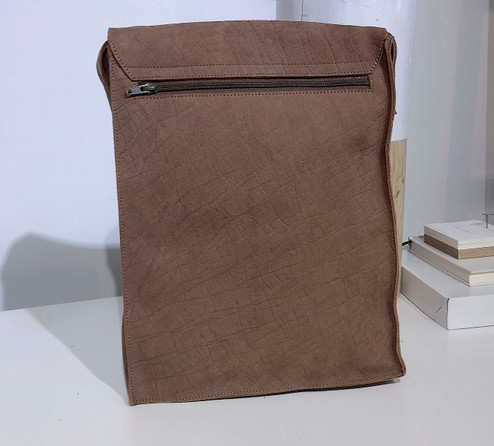"Leather Satchel - 14"" - Cafe Au Lait | Genuine Leather | Unisex | Handmade in Kenya"