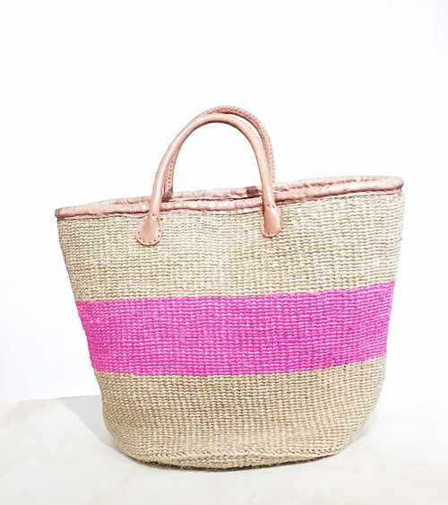 Kiondo Basket | Natural & Pink Stripes | Large - Shopper, Storage, Decor