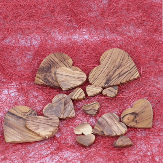 Olive Wood Hearts   Flat Medium   Handmade in Bethlehem
