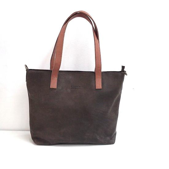 Genuine Leather Tote Bag | Dark Brown + Tan Straps | Handmade in Kenya
