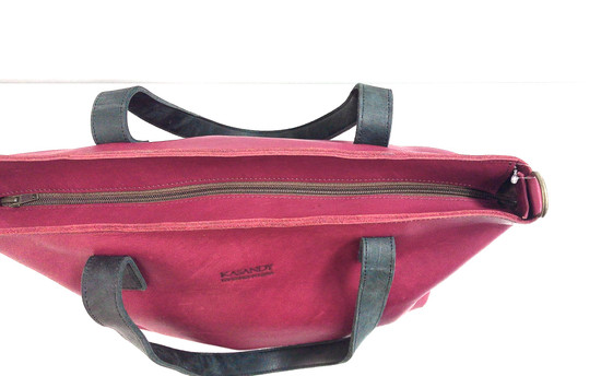 Genuine Leather Tote Bag | Burgundy + Black Straps | Handmade in Kenya