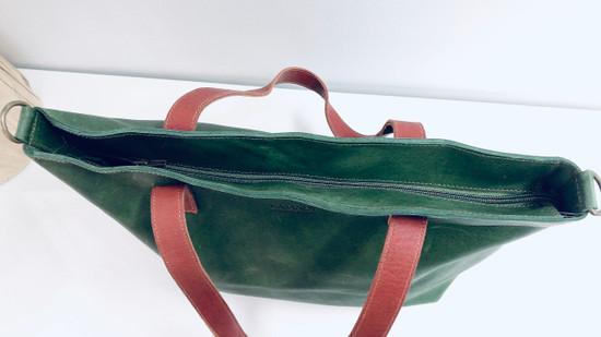 Genuine Leather Tote Bag | Dark Green + Tan Straps | Handmade in Kenya