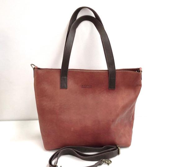 Genuine Leather Tote Bag | Tan Brown + Dark Brown Straps | Handmade in Kenya