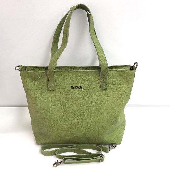 Genuine Leather Tote Bag | Shamrock Green | Handmade in Kenya