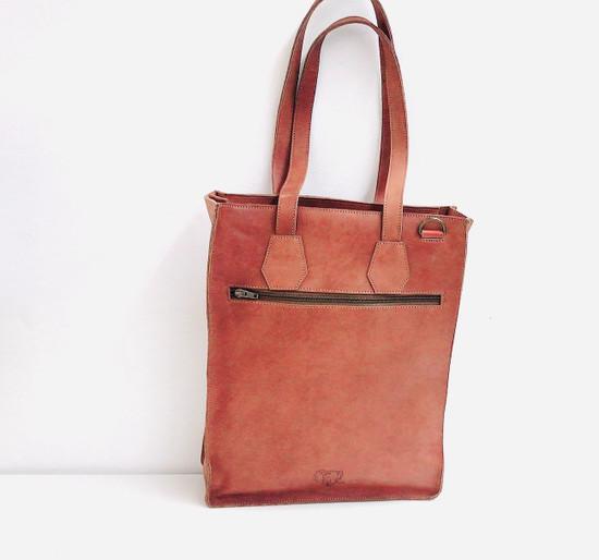 Genuine Leather Tote/Laptop Bag/Briefcase for Women | Tan Brown | Handmade in Kenya