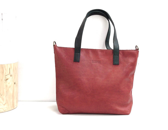 Genuine Leather Tote Bag | Tan Brown Black Straps | Handmade in Kenya