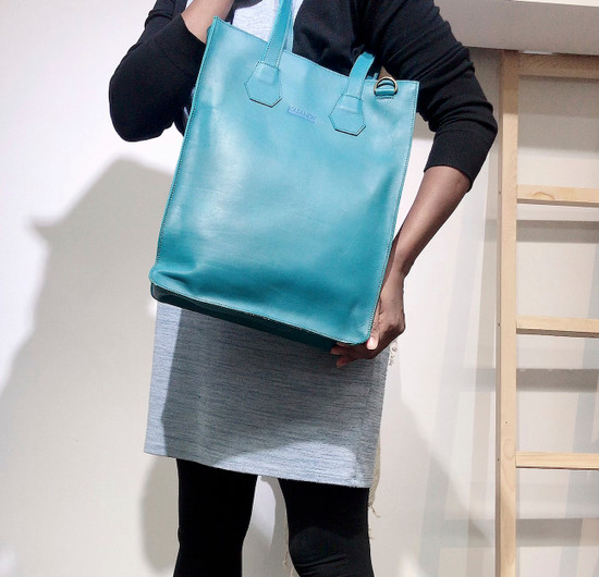 Genuine Leather Tote/Laptop Bag/Briefcase for Women | Turquoise | Handmade in Kenya
