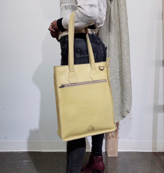 Genuine Leather Tote/Laptop Bag/Briefcase for Women | Yellow & Black | Handmade in Kenya