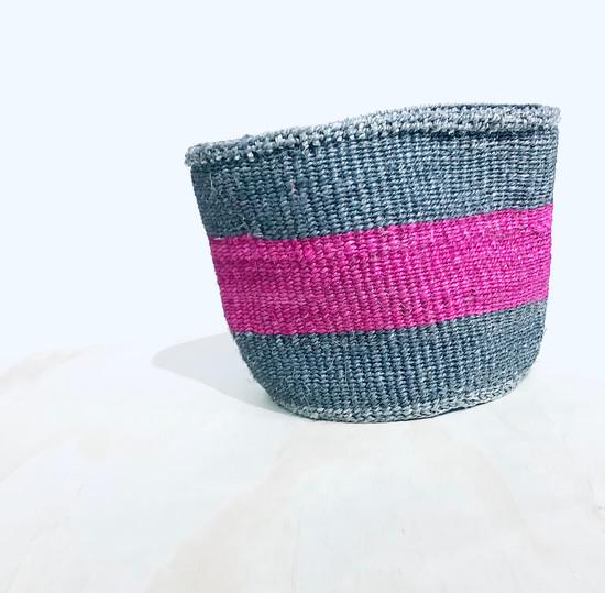 "Kiondo Basket | Grey & Fuschia Stripe | 8.5"" | Planter, Storage, Decor"