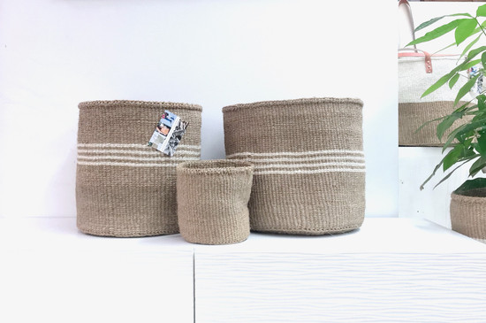 Kiondo Basket | Natural + 3 White Stripes | 12.5"