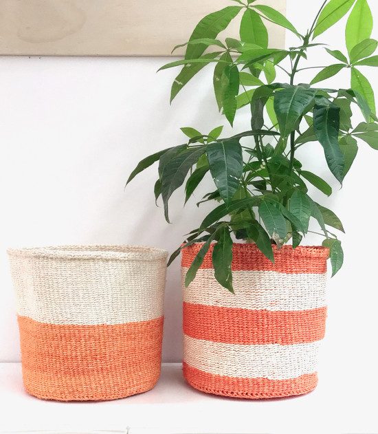 Kiondo Basket | Two Tone Orange & White | 10"