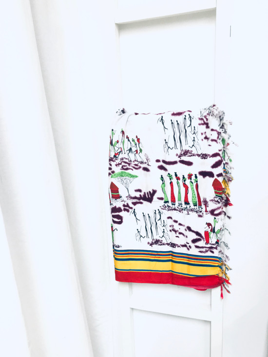 African Print Cotton Scarf | White, Green, Black, Yellow & Red - Stick Figure Art