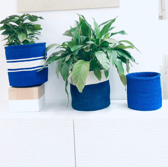 Kiondo Basket | Two-Tone Blue & White | 12.5"