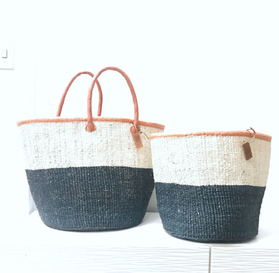 Kiondo Basket - White and Black/Charcoal Grey Thick Stripe | Large - Shopper, Storage, Decor
