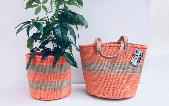 Kiondo Basket -  Orange With Natural  Stripe | Large - Shopper, Storage, Decor