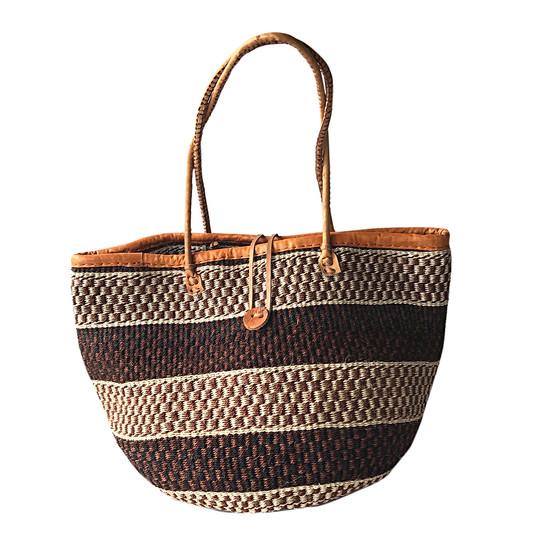 "Kiondo Basket Bag - Black, Brown & Natural Stripes | 13"" - Shopper, Storage, Decor"