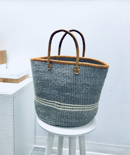 "Kiondo Basket - Grey With White Stripes | 13"" - Market, Shopper, Storage, Decor"