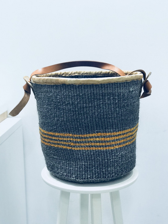 Kiondo Basket - Grey With Orange Stripes | 13"