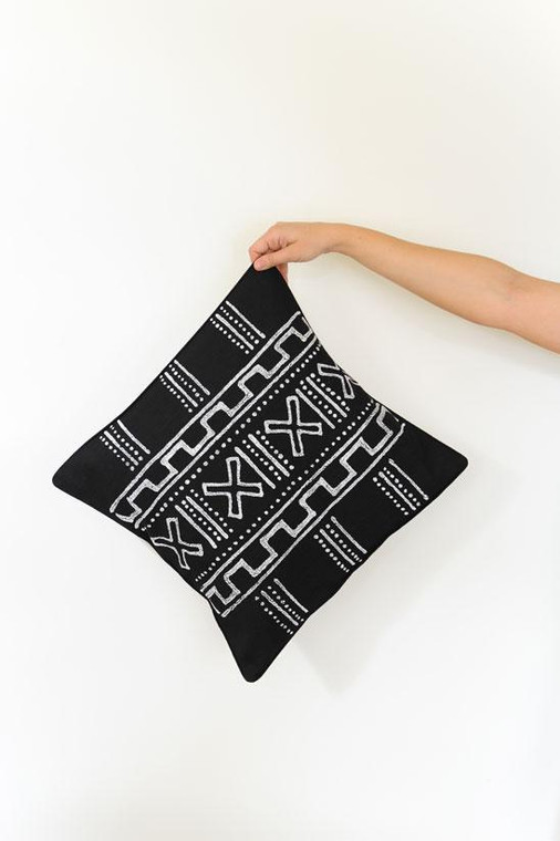 Throw/Sofa Pillows | Black | Mudcloth Style - 18 by 18 Inches