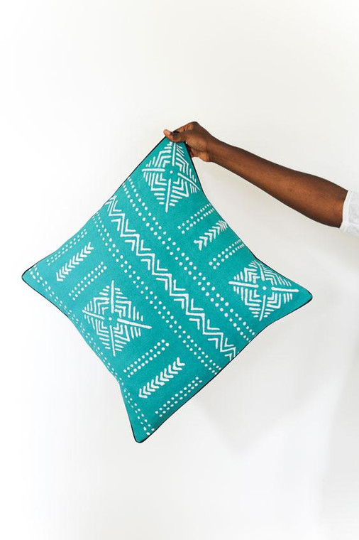 Throw/Sofa Pillows | Teal | Mudcloth Design - 18 by 18 Inches
