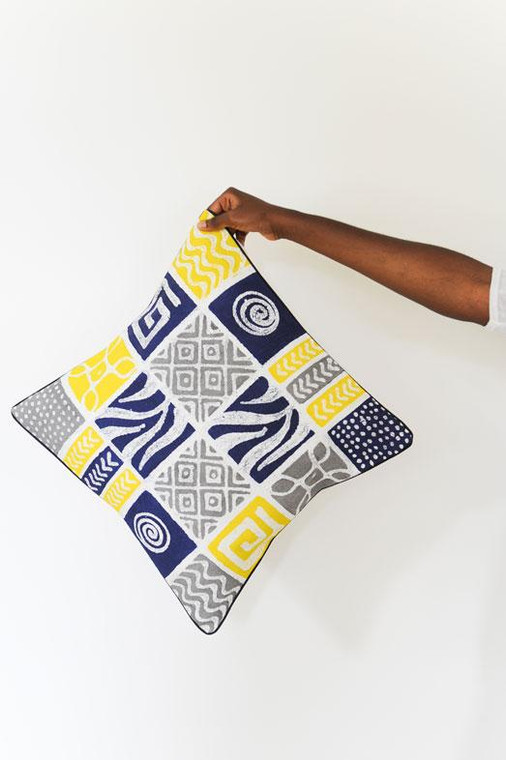 Throw/Sofa Pillows   Blue-Yellow-Grey   Mudcloth Design - 20inch