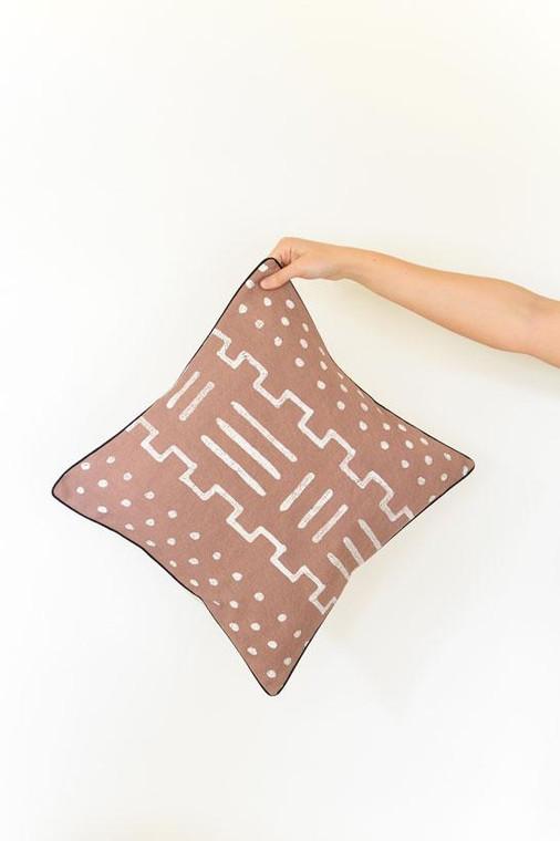 Throw/Sofa Pillows   Taupe   Mudcloth Design - 20inch