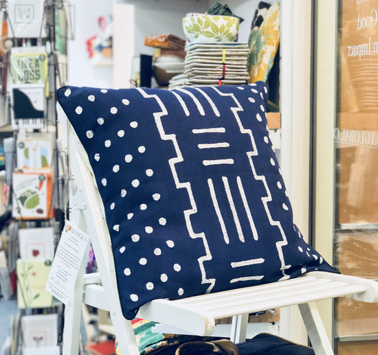Throw/Sofa Pillows | Indigo Blue | Mudcloth Design - 20inch