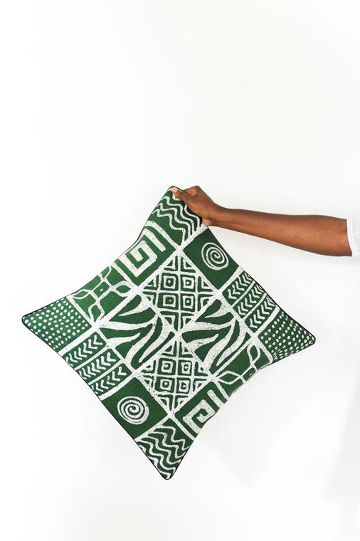 Throw/Sofa Pillows | Green | Mudcloth Design - 20 inches