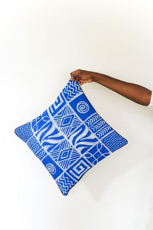 Throw/Sofa Pillows | Blue | Geometric Design - 20 inches