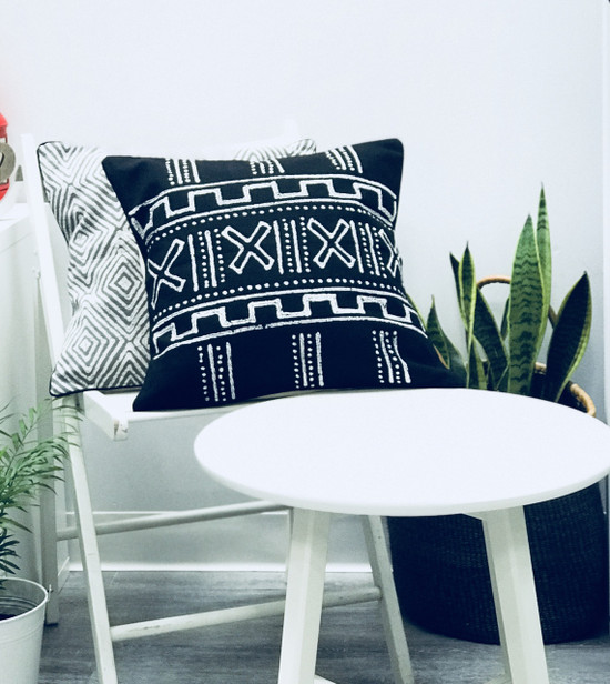 Throw/Sofa Pillows | Black | Mudcloth Style - 20 inches