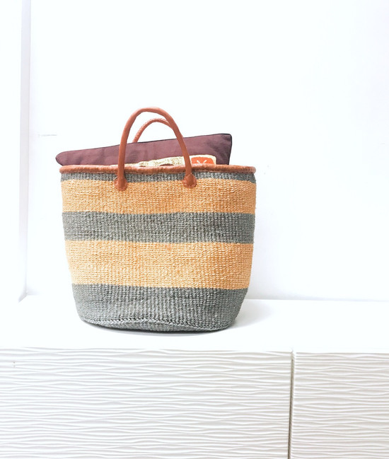 Kiondo Basket - Grey With Orange Stripes   Large - Shopper, Storage, Decor