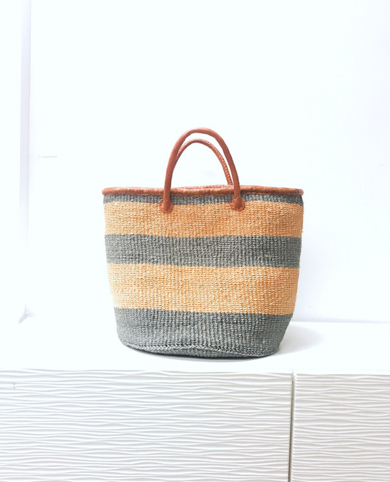 Kiondo Basket - Grey With Orange Stripes | Large - Shopper, Storage, Decor